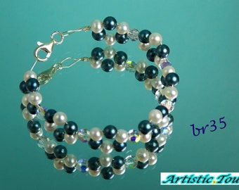 Wire wrapped black Akoya and white freshwater round pearl and swarovski crystal bracelet, 8 inches, sterling silver, one of a kind, bridal