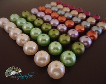 Round Pearl Acrylic Beads Assorted Colours, 14mm -  20x (Choose your colour)