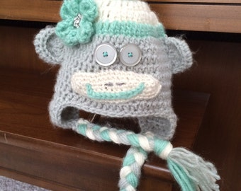 Girl Sock Monkey Hat with Flower and Top Pom Pom - Gray and Ocean Green - Size Newborn to Adult