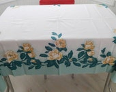 Vintage California Handprints Teal, Green, and Beige Floral Tablecloth