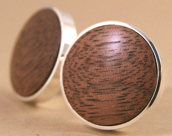 Silver Cufflinks - American Walnut Thin Bezel cuff links - Also available in Gunmetal!