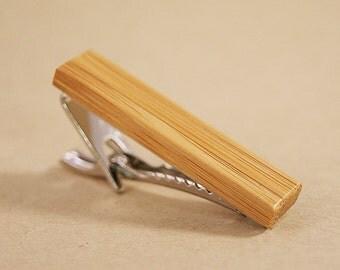 Skinny Tie Clip: Eco Friendly Bamboo tie tack