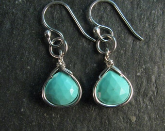 Sterling Silver Turquoise Drop Earrings - Every Day Earrings - December Birthstone Earrings - Turquoise and Silver Jewelry
