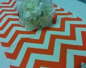 SAMPLE SALE RUNNER - Zigzag orange and white zig zag table  runner Chevron clearance repost