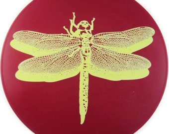 Red Silicone Dragonfly Kitchen Hot Pad, Kitchen Trivet, Table Mat, Table Placemat