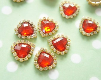 3 pcs Gorgeous Acrylic Heart Rhinestone (21mm22mm) Red AZ097