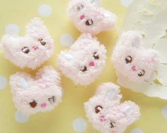 4 pcs Kawaii Mini Bunny Face Doll Applique (24mm25mm) Pink MK008