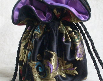 Satin Brocade Jewelry Bag, Travel Jewelry Bag with purple