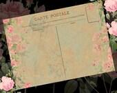 Instant Download - Vintage Wedding Postcard  - 5x7  -  Printable Digital Collage Sheet - Digital Download
