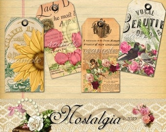 Instant Download - Hang Tags  -  Nostalgia -  Printable Digital Collage Sheet - Download