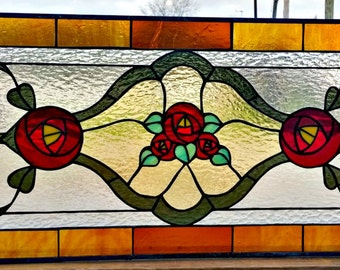 Stained Glass Transom Window - Victorian Simplicity - Design 4 (W-111)