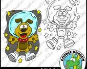 Space Dog Digital Stamp