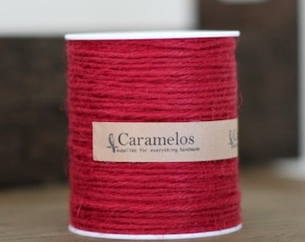100 yds of Natural Cranberry Red Jute Twine Cord