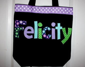 Girls Personalized Black tote