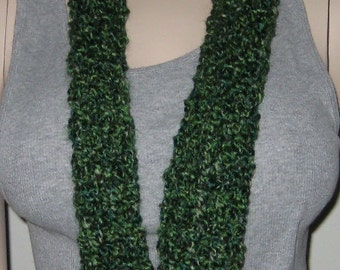 Crochet Homespun Infinity Scarf Cowl in Forrest
