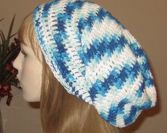 Cotton Extra Long Slouchy Beanie Dread Tam Hat in Hippy