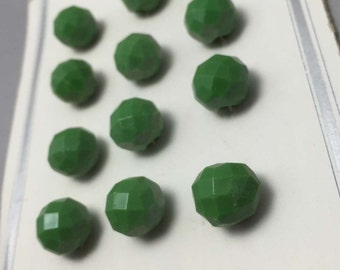 Set of 12 Vintage Green Glass Buttons on Original Card