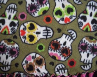 Sugar Skull NoSew Fleece Blanket