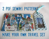 Sewing patterns for Travel Set  LuggageTags and Passport and ID wallet cases with bonus card wallet pattern included