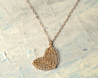 HEART Pendant Necklace, Wire Crochet  Gold Charm Necklace , VALENTINES gift , long chain