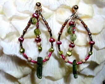 Unusual Unique Handmade OOAK Tourmaline Peridot Freshwater Pearls Delica Hoop Earrings with Dangle