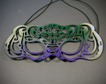 Victoriana mardi gras mask in leather