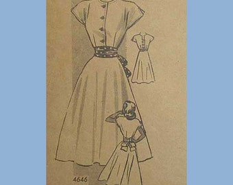 Vintage 40s 50s Cap Sleeve Dress Pattern 31 Anne Adams