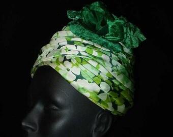 Vintage 60s Archie Eason Draped Silk Turban Hat