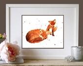 WATERCOLOR Fox Print, kids wall art, 8x10 print, childrens room, cute fox print