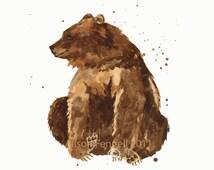 BEAR Watercolor Print, 8x10 print, ready to frame, bear painting, baby boy nursery