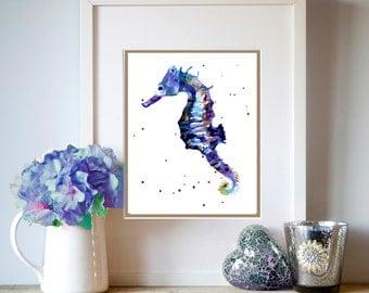 Watercolor Seahorse print, Blue Seahorse Illustration, ready to frame, 8x10 print