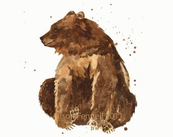 BEAR Watercolor Print, 8x10 print, ready to frame, bear painting, baby boy nursery