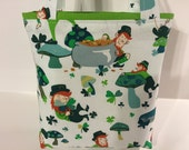 St. Patrick's Day, Fabric Gift Tote Bag, Gift Wrap, Whimsical Bag, Happy Birthday, Shamrocks, Leprechaun, Pot of Gold