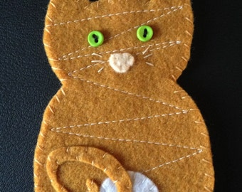 orange tabby cat felty
