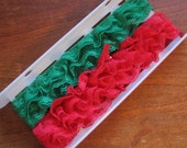 Vintage Red Lace and Green Lace for Holiday Crafting Sewing Supply