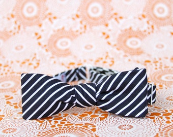black & white striped freestyle bow tie