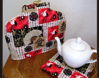 Tea Cozy-White Cranes, Fans, and Bamboo Tea Cozy and Hot Pad, White Cranes Tea Cozy and Hot Pad, Asian Fans and Bamboo Tea Cozy and Hot Pad