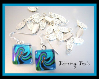 24 Small   Silver Plated  Aanraku Earring Bails Glue On 9x6mm Glue Pad