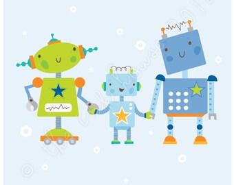 ROBOT FAMILY PRINT prints illustration baby boy children room wall art nursery decor blue orange grey green