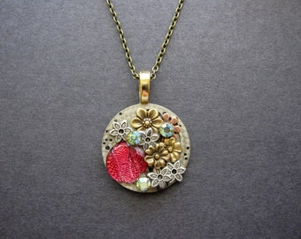 OOAK Steampunk Necklace, Unique Steampunk, Woodland Necklace, Nature Inspired, For Her, Rose Pink, Brass Flowers, Vintage Swarovski Findings