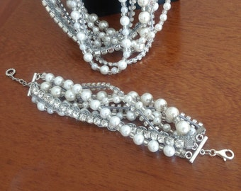 Ivory Pearl Necklace and Bracelet Set with Rhinestones brides bridesmaids