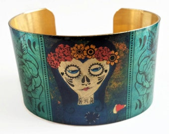 Day of the Dead Dia de los Muertos cuff bracelet brass aluminum jewelry Gifts for her