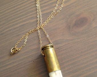 Bullet Necklace Howlite Horn Spike - Lucky Talisman - Jennifer Cervelli Jewelry
