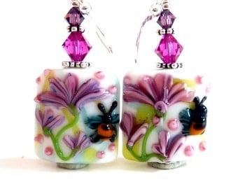 Pink Purple Earrings, Flower Earrings, Floral Lampwork Earrings, Beadwork Earrings, Garden Earrings, Nature Earrings, Summer Earrings