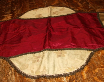 Antique Red Burgundy Silk Metallic Pillow Layover Table Runner Vintage