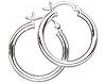 One pair of Sterling Silver 25mm round hoop earrings with latch- back closure.