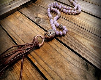 Lilacs, Western Cowgirl Southwestern Boho Long Crystal & Copper Leather Tassel Lariat Necklace