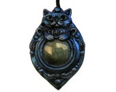 Midnight Violet Persian Cat Sculpted Relief Style Jade Pendant, Polymer Clay Animal Jewelry Himalayan Breed Drop Dark Blue Gothic Night
