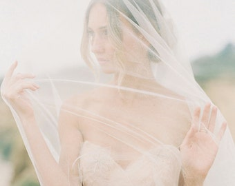 Silk tulle bridal veil, blusher veil, lace edge veil / Style number 1915 Florence