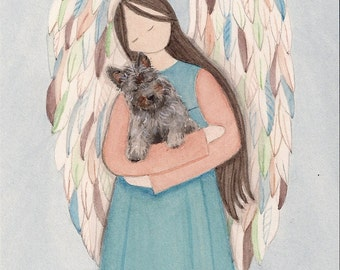 Cairn terrier cradled by angel / Lynch signed folk art print